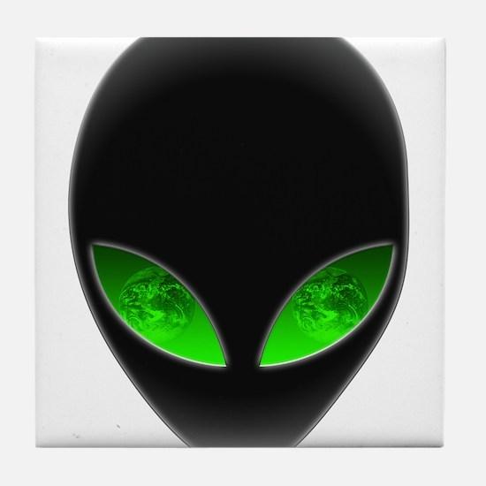 Cool Alien Earth Eye Reflection Tile Coaster