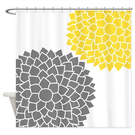 zen flowers gray yellow shower curtain by marshenterprises. Black Bedroom Furniture Sets. Home Design Ideas