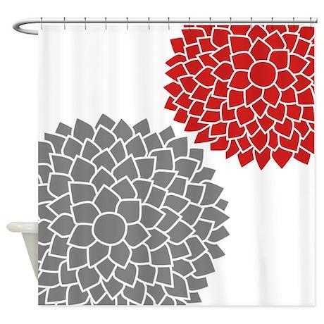 Zen Flowers Gray Red Shower Curtain By MarshEnterprises