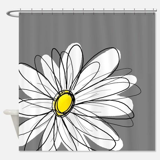 Modern Daisies - gr... Shower Curtain