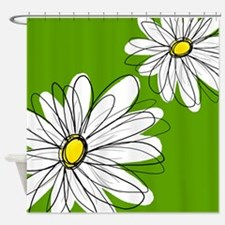 Trendy Daisies - gr... Shower Curtain