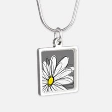 Modern Daisies - gr... Silver Square Necklace