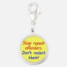 Stop Repeat Offenders Silver Round Charm