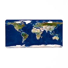 Whole Earth map - Aluminum License Plate