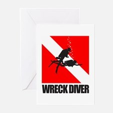 Wreck Diver (blk) Greeting Cards (Pk of 10)