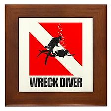 Wreck Diver (blk) Framed Tile