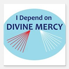 "I Depend on Divine Mercy Square Car Magnet 3"" x 3"""