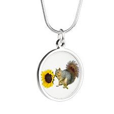 Squirrel Sunflower Silver Round Necklace