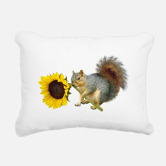 Squirrel Sunflower Rectangular Canvas Pillow