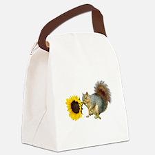 Squirrel Sunflower Canvas Lunch Bag