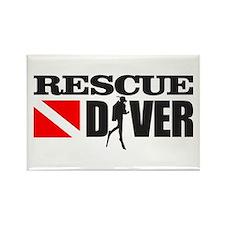 Rescue Diver 3 (blk) Rectangle Magnet