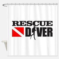Rescue Diver 3 (blk) Shower Curtain