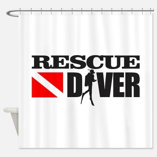 Rescue Diver 3 (blk) Shower Curtain