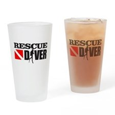 Rescue Diver 3 (blk) Drinking Glass