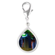 UFO over city - Silver Teardrop Charm