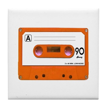 Orange Cassette Tape Tile Coaster