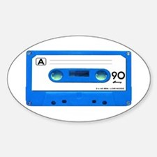 Blue Cassette Tape Sticker (Oval)
