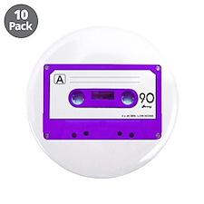 "Purple Cassette Tape 3.5"" Button (10 pack)"