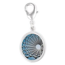 Carbon nanotube, artwork - Silver Oval Charm