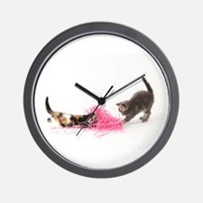 Kittens Playing Wall Clock