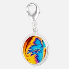 cancer of the colon - Silver Oval Charm