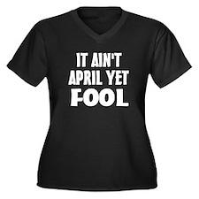 Not April Fool Women's Plus Size V-Neck Dark T-Shi