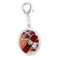 WAP mobile telephone - Silver Oval Charm