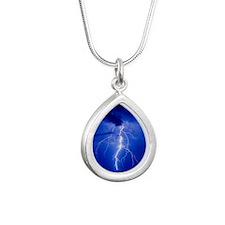 Lightning in Arizona - Silver Teardrop Necklace