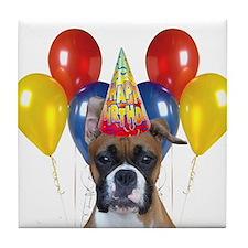 Birthday Boxer Dog Tile Coaster