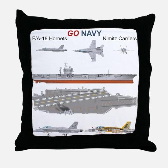 F/A-18 Hornet USS Nimitiz CVN-68 Throw Pillow