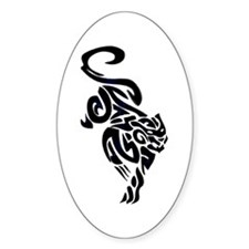 Black Panther Tribal Art 1 Oval Decal