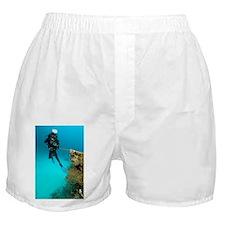 Diver exploring the Cross Wreck - Boxer Shorts