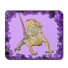 Bearded Dragon with Purple flowers mousepad