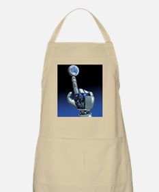 Earth spinning on robotic finger, artwork - Apron