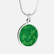 Shamrock Pattern Silver Round Necklace