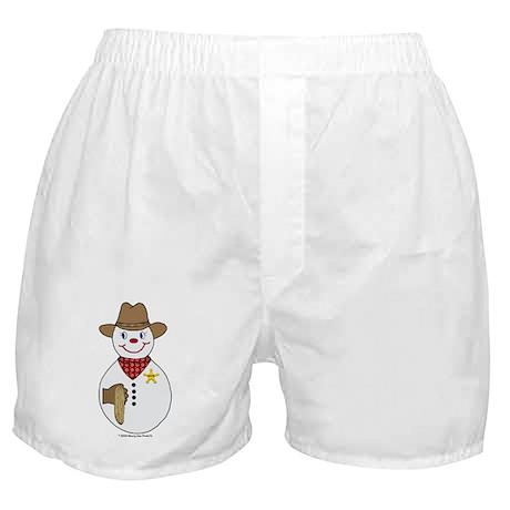 Snowman Cowboy Boxer Shorts