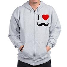 I Heart Mustache Zip Hoodie