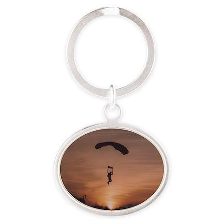 Sunset Skydvier Oval Keychain