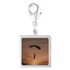 Sunset Skydiver Silver Square Charm