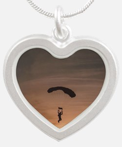 Sunset Skydiver Silver Heart Necklace