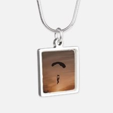 Sunset Skydiver Silver Square Necklace