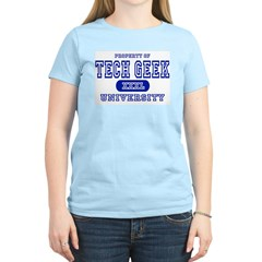 Tech Geek University Women's Pink T-Shirt