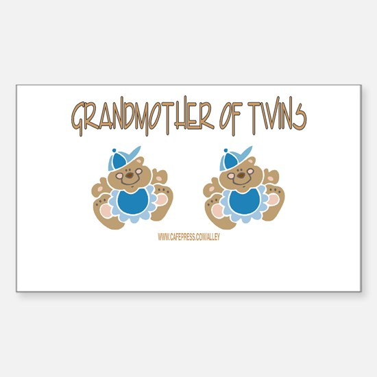 Grandmother Of Twins (2 Boys) Sticker (Rectangular