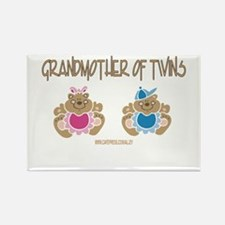 Grandma Of Twins- Boy/Girl Rectangle Magnet
