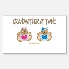 Grandma Of Twins- Boy/Girl Rectangle Decal