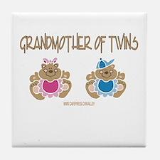Grandma Of Twins- Boy/Girl Tile Coaster