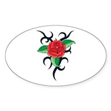 TRIBAL RED ROSE Oval Decal