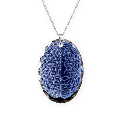 Brain, neural network - Necklace Oval Charm