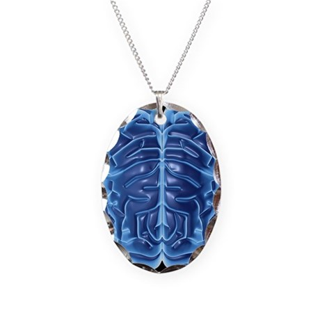 Human brain, artwork - Necklace Oval Charm