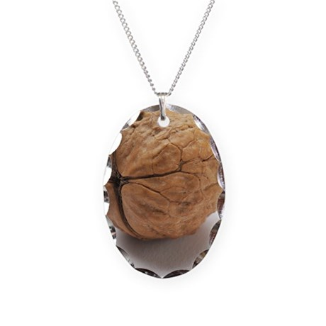 Walnut - Necklace Oval Charm